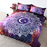 BlessLiving Celestial Mandala Bedding Cosmic Moon and Star Duvet Cover 3 Pieces Purple Nebula Deep Space Bed Set Astrology Gift (Queen)