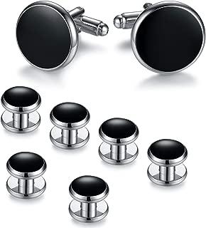 BodyJ4You Lot de 4 Boutons de Manchette Boutons de Chemise personnalis/és avec initiales de lalphabet A-Z Pince /à Cravate Porte-Monnaie