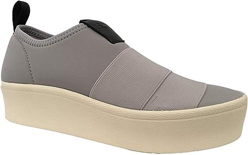 Fessura Zapato mujer gris Perla de Neopreno y Elástico, Mod Bi-Calcetín Two, Suela de Goma Crema cm 4