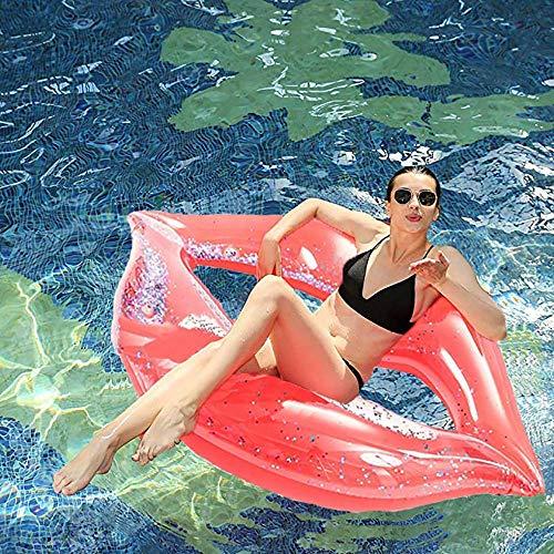 Flotador de labios gigante inflable para piscina, con purpurina (65 pulgadas), divertidos flotadores de playa, juguetes de fiesta de natación, tumbona de piscina de verano para adultos y niños