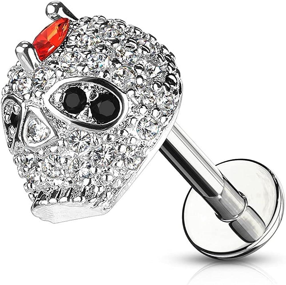 Pierced Owl 16GA Stainless Steel Internally Threaded CZ Crystal Paved Skull Top Lip Cartilage Tragus Stud