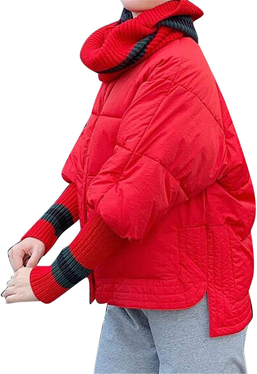 SHOWNO Womens Knitting Loose Fit Irregular Thermal Winter Quilted Jacket Parka Coat Outerwear
