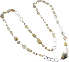 Handmade Jewelry Manufacturer 925 Sterling Silver, Yellow Golden Rutile, Length- 104 Cm Chain Necklace Jaipur Rajasthan India