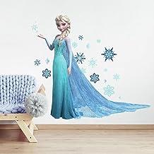 RoomMates RM - DISNEY Frozen Elsa glinsterende wandtattoo, PVC, kleurrijk, 48 x 13 x 2,5 cm
