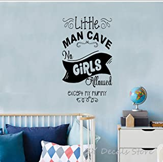 MRQXDP Childrens Bedroom Fun Decor Wall Stickers Word Little Man Cave Nursery Door Room Decoration Wall Decal for Boys Not...