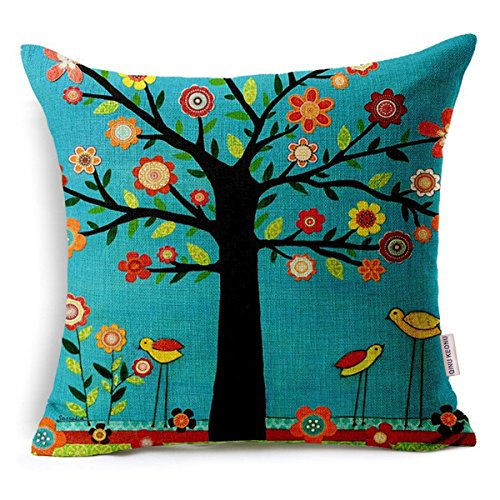 QINU KEONU Oil Painting Black Large Tree and Flower Birds Cotton Linen Throw Pillow Case Cushion Cover Home Sofa Decorative 18 X 18 Inch (Black)