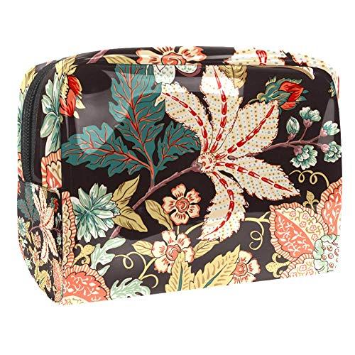 Sac à maquillage portable vintage avec motif de fleurs pour le voyage pour les femmes et les hommes Multicolore Couleur 1 18.5x7.5x13cm/7.3x3x5.1in