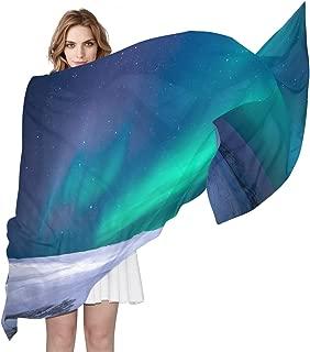 Fashion Silk Print Girl Scarf Comfortable Lady Shawl Soft Long Scarf Does Not FadeArctic Aurora Borealis