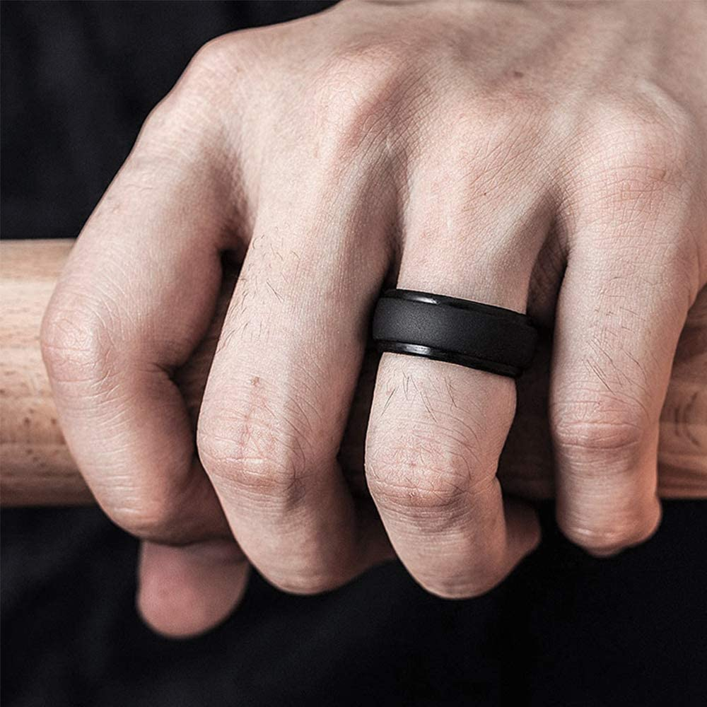 4 Packs Mens Rubber Silicone Wedding Band for Him CyvenSmart Silicone Wedding Ring for Men