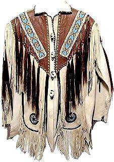 Classyak Men's Western Fringed, Beaded And Bones Leather Jacket