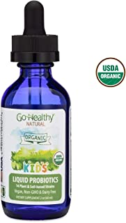 Go Healthy Natural Liquid Probiotics & Enzymes for Kids USDA Organic, Vegan, 14 Soil-Based Strains - 2 oz Glass