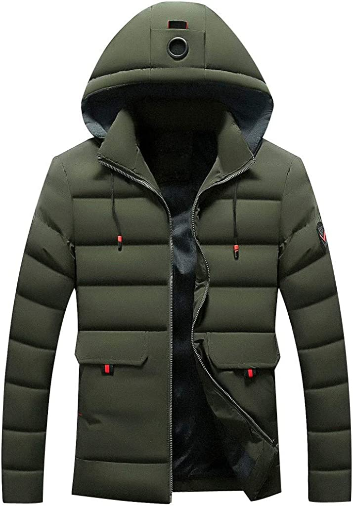 Mens Outdoor Down Jacket Hooded NRUTUP Puffer Jacket with Hooded Parkas Thicken Padded Jacket Windproof for Winter Coat