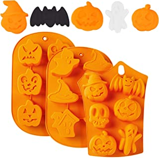 TraderPlus 3 Pcs Halloween Silicone Baking Molds Chocolate Cookie Candy Ice Cube Molds - Pumpkin Bat Skull Ghost Shape