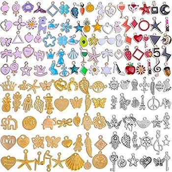 150PCS Bracelet Charms for Jewelry Making Ranekie Wholesale Bulk Lots Jewelry Making Silver Bracelet Charms Gold Plated Enamel Charms Pendants for Necklace Bracelet Jewelry Making and Crafting