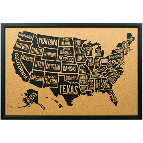 Craig Frames Wayfarer Cork Board, Typographic United States Push Pin Travel Map, Gallery Black Frame and Pins, 20 by 30-Inch