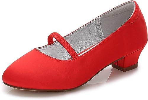 Eleboeb Femmes Mariage Mariage Enfants Chaussures Fille Court Soie comme Satin Mode sur Bal Stiletto Talon 3cm  en bonne santé