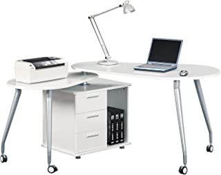 techni mobili rotating computer desk with storage white