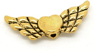 Yc 50pcs Antique Gold Heart with Wing Spacer Beads 22x9mm Loose Metal Beads Craft DIY Jewelry Making Findings Charms Pendants