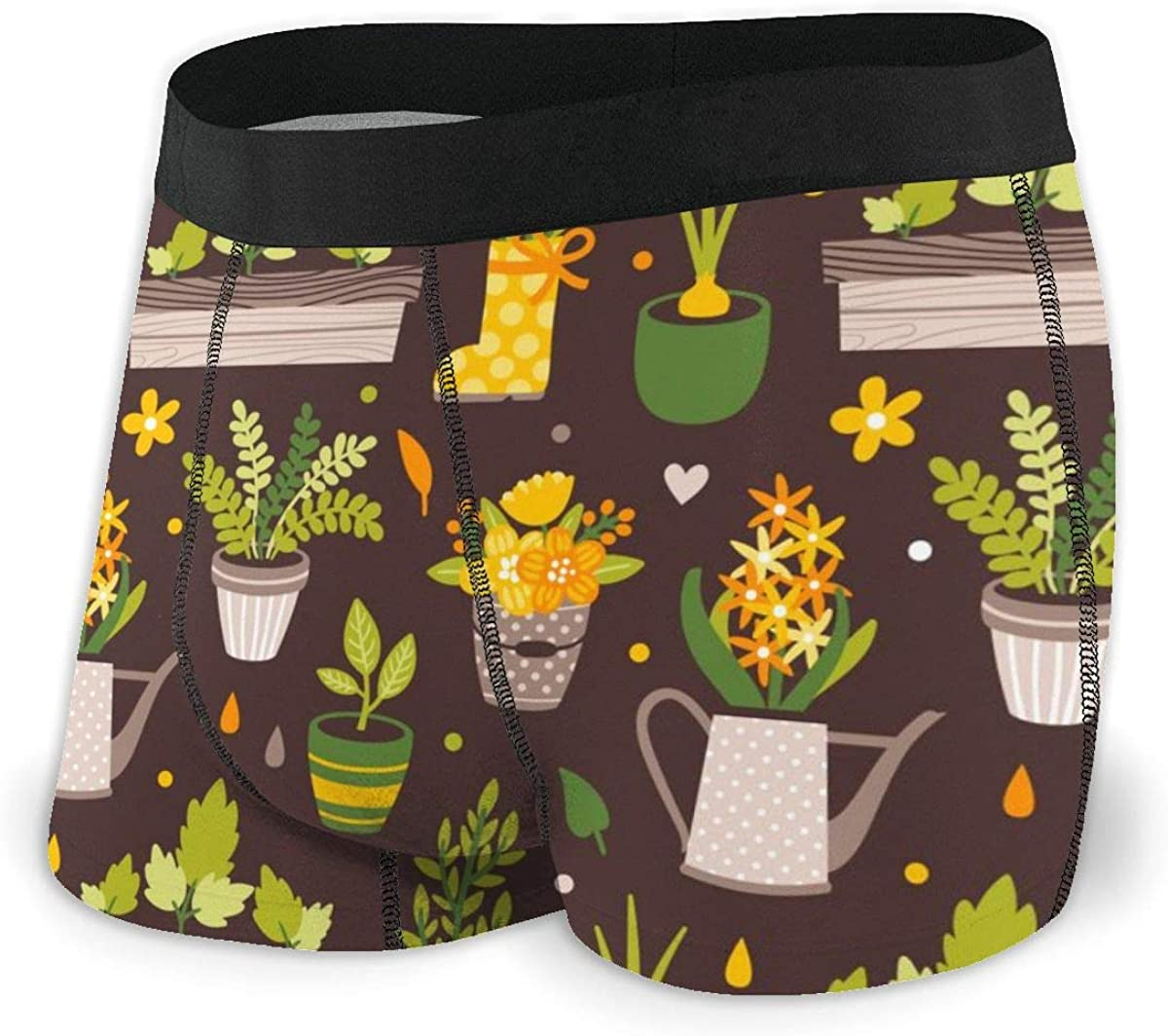 Randolph Wordsworth Mens Underwear Potted Plants and Flowers Boys Boxer Briefs Trunks Low Rise Underpants Man