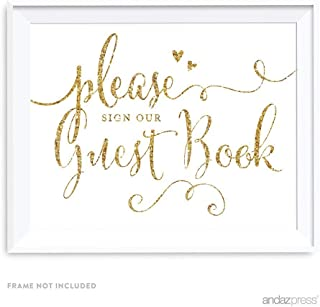 Andaz Press Wedding Party Signs, Glam Gold Glitter Print, 8.5-inch x 11-inch, Please Sign our Guestbook, 1-Pack (Renewed)