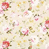 Fabulous Fabrics Halbpanama Creme, Blume, 140cm breit –