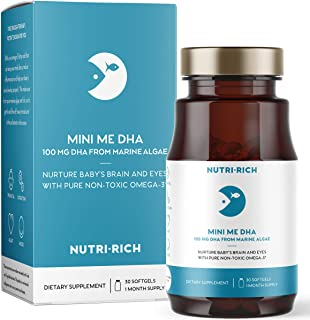 Mini Me DHA by Nutri-Rich, Pure Omega 3 DHA from Marine Algae, Gentle and Safe, Easy to Swallow Softgels for Healthy Mom and Baby (30 Softgels)