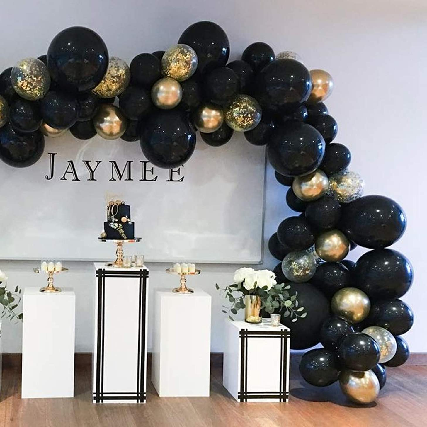 Beaumode DIY Black&Gold Balloon Garland Kit For 82pcs Black Balloons Arch Garland Banner Boys Birthday Bachelorette Wedding Decor Photo Booth Backdrop Bridal Shower Baby Shower Birthday Party Anniversary Party Decoration