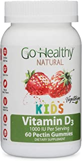 Go Healthy Natural Vitamin D3 Gummies for Kids, Vegetarian, OU Kosher, Halal-1000 IU Per Serving (60 Servings)