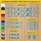 Pimastickerslab Aufkleber Fahrrad Trek FUELX_ KIT 3 Kit Aufkleber Stickers 12 Stück – bici Bike Cycle wählbar Cod.0898 (053 BLU LEGGERO)