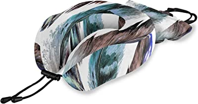 RYUIFI Portable Neck Pillow Tribal Ethnic Boho Animal Bird Feathers Memory Foam Neck & Head Support Print Childs Neck Pillow for Flight Travel Office Best Gift