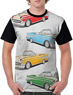 Summer Casual Short Sleeve,Manly,Collection of Four Classic Car Roadsters Old Fashioned Transportation Illustration, Multicolor S-XXL T Shirt Female Tight