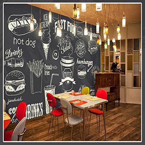 Rovovom® Restaurant Wandbild Wallpaper Foto 3D Kreative Handgemalte Schwarz-Weiße Food-Burger-Pommes (B) 300 × (H) 210 Cm Selbstklebendes Bild Cafe Poster Schlafzimmer Büro Hintergrund Wandkunst Deko