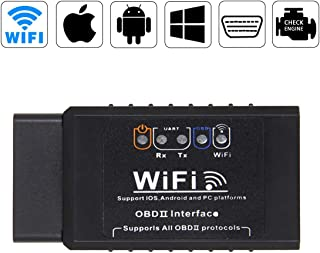 Car WiFi OBD2 Scanner Tool Wireless Car OBDII Scan Code Reader Adapter Diagnostic Engine Tool for iOS Android Windows Devices Fit Most Vehicles