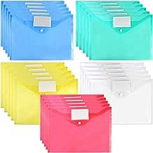 25Packs Plastic Envelopes Poly Envelopes, Waterproof Envelope File Folder Project Document Folders Clear Transparent File Envelopes with Label Pocket and Snap, A4 and 5 Assorted Colors