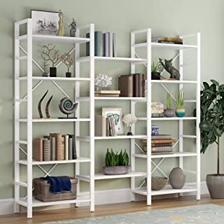 Tribesigns Triple 72 Inches Wide 5-Shelf Bookcase, Etagere Large Open Bookshelf Vintage Industrial Style Shelves Wood and Metal bookcases Furniture for Home & Office, White
