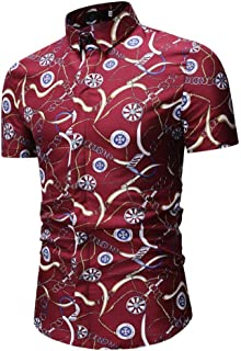 Men's Floral Casual Button Short Sleeve Hawaiian Shirt Large Men's Beach Vacation Shirt (Color : Red, Size : L)
