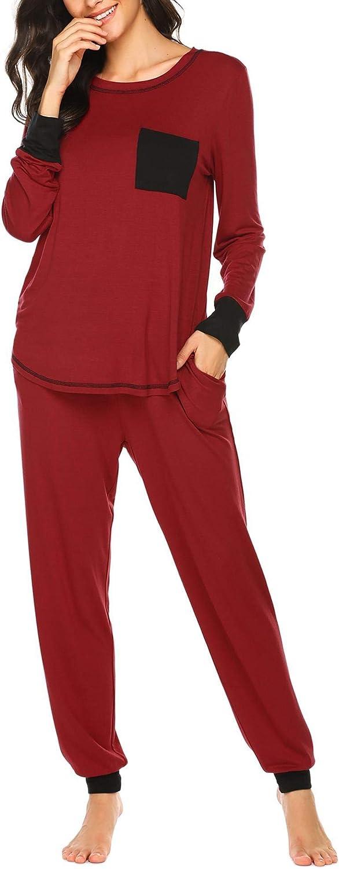 Ekouaer Pajamas Women's Long Sleeve Sleepwear with Long Pants Soft Loungewear Pj Set S-XXL