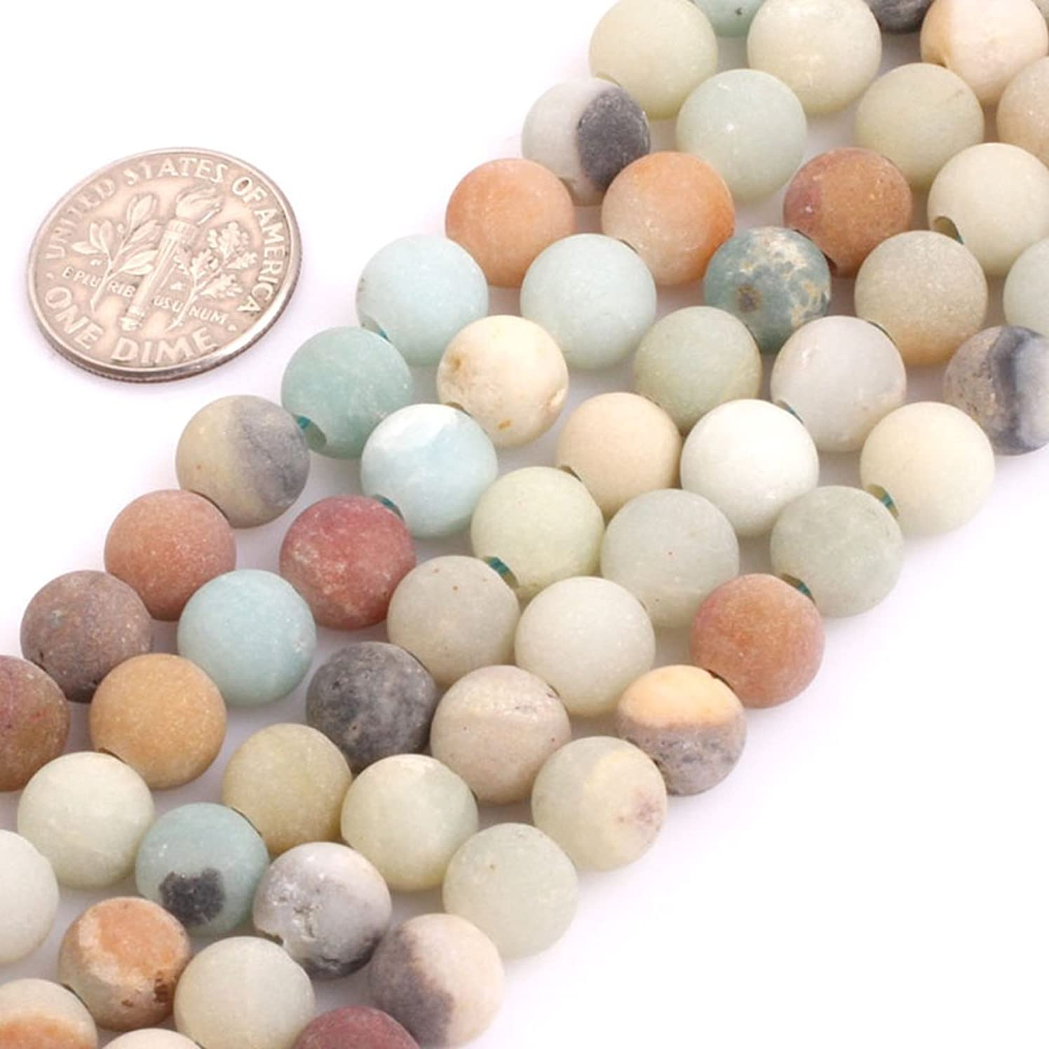 Gem-inside 8MM Natural Multi Color Amazonite Frosted Matte Stone Beads for Jewelry Making 2.5mm Big Hole 15