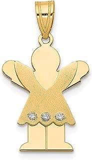 Lex & Lu 14k Yellow Gold AA Diamond Kid Pendant LALXK355AA