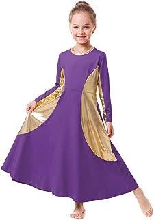 Girls Praise Liturgical Lyrical Full Length Metallic Gold Dance Dress Full Length Dancewear Tunic Circle Costume