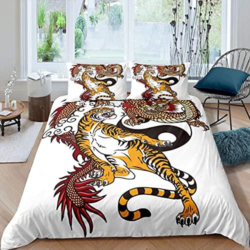 Erwachsene Tiger Bettwäsche Set Dragon Tiger Fight Trösterbezug Yin & Yang Bettbezug Set für Kinder Jungen Mädchen Mythologie Antike orientalische Kultur Tai Chi Tagesdecken mit 2 Kissenbe