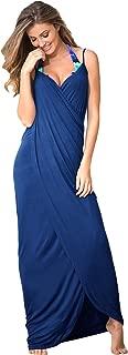 Boldgal Women's Polyester Beach Swimwear Spaghetti Strap Sarong (Blue, Medium)