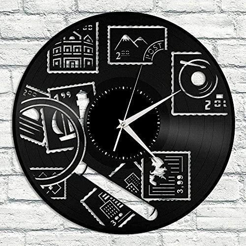 TJVXN Reloj de Pared de Vinilo filatélico, Exclusivo, decoración de habitación de Diablo, diseño Retro, Oficina, Bar, habitación, decoración del hogar