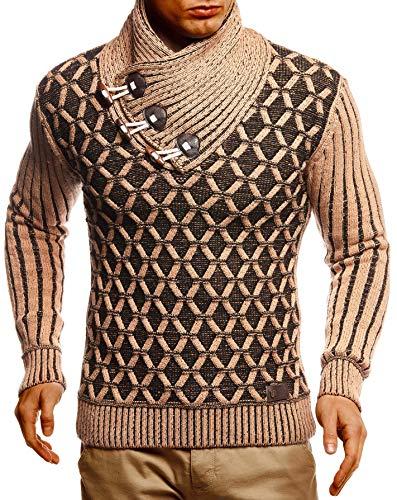 Leif Nelson Herren Pullover Pulli Strickpullover mit Schalkragen Winterpullover Slim Fit LN5385 Braun Schwarz Medium