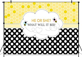 COMOPHOTO 7x5ft Bee Theme Gender Reveal Party Backdrop Bumble Bee He or She Baby Shower Photography Background Honeycomb Dots Bee-Day Party Banner Decorations