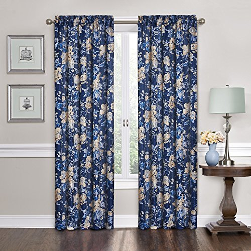 """Waverly Forever Yours Rod Pocket Curtains for Living Room, Single Panel, 52"""" x 84"""", Indigo"""