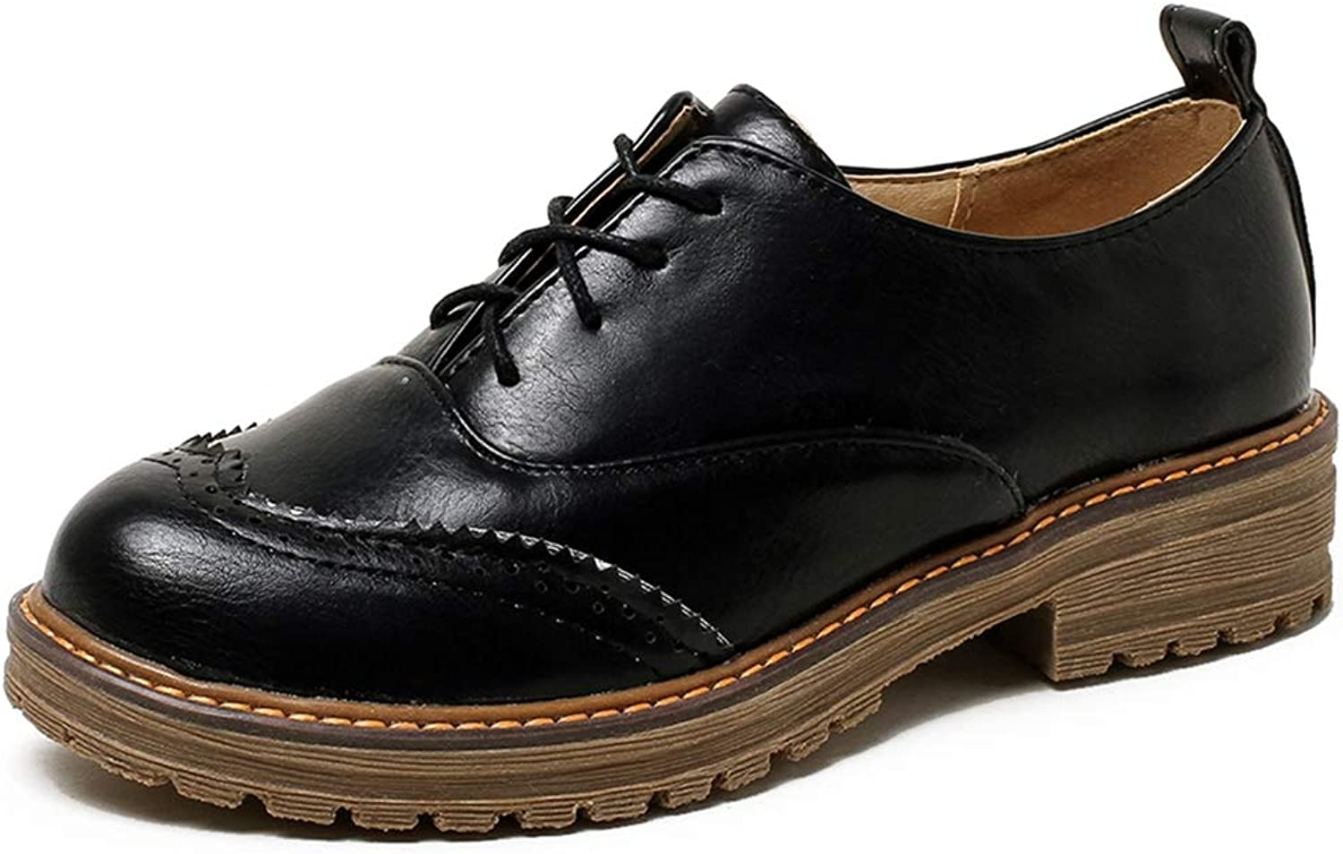 GIY Women's Classic Saddle Oxford shoes Wingtip Lace Up British Casual Flat Low Heel Oxfords Brogues Black