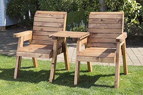Hand Made 2 Seater Chunky Rustic Wooden Garden Furniture Companion/Love Seat