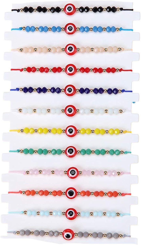 12 Pcs Colorful Evil Eye Beaded Bracelets Handmade Braided String Good Luck Nazar Amulet Bangle Lucky Turkish Religious Symbol Jewelry