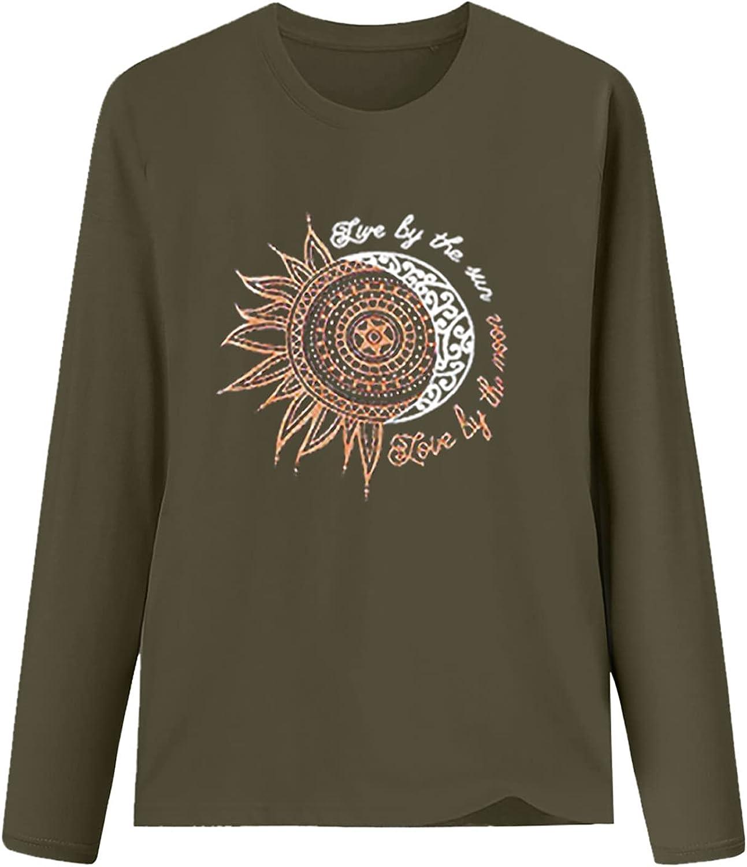 Women's Casual Long Sleeve Blouse Sun Element Printing O-Neck Shirts Tops Loose Comfortable Tunic Tee